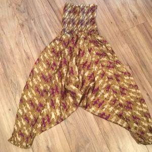 Pants - 100% silk boho Harem pants